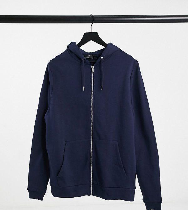 ASOS DESIGN Tall organic zip-up hoodie in navy