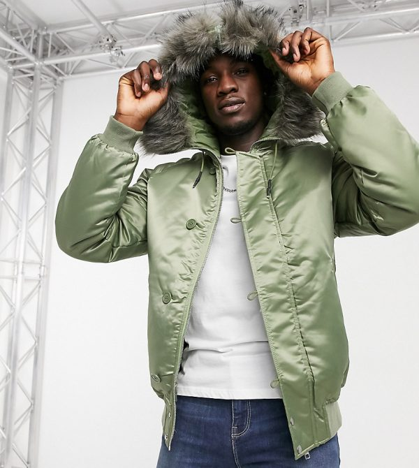 ASOS DESIGN Tall padded bomber jacket with faux fur hood in khaki-Green