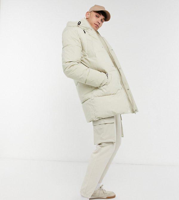 ASOS DESIGN Tall puffer jacket in ecru-Cream