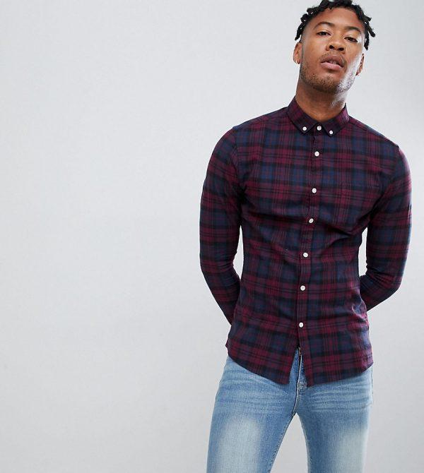 ASOS DESIGN Tall skinny check shirt in navy & burgundy-Red