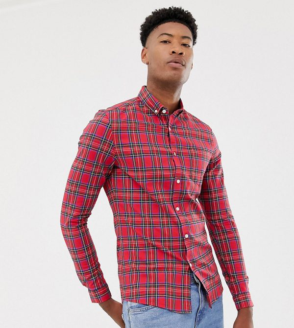 ASOS DESIGN Tall skinny check shirt in red plaid