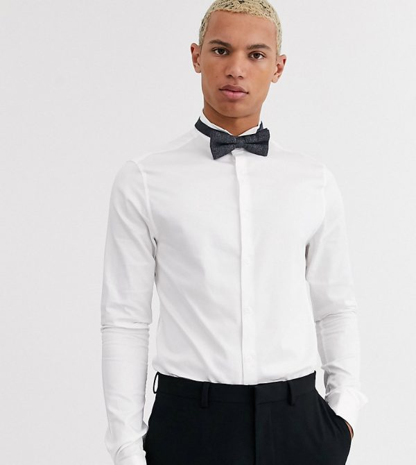 ASOS DESIGN Tall skinny fit sateen shirt with wing collar in white