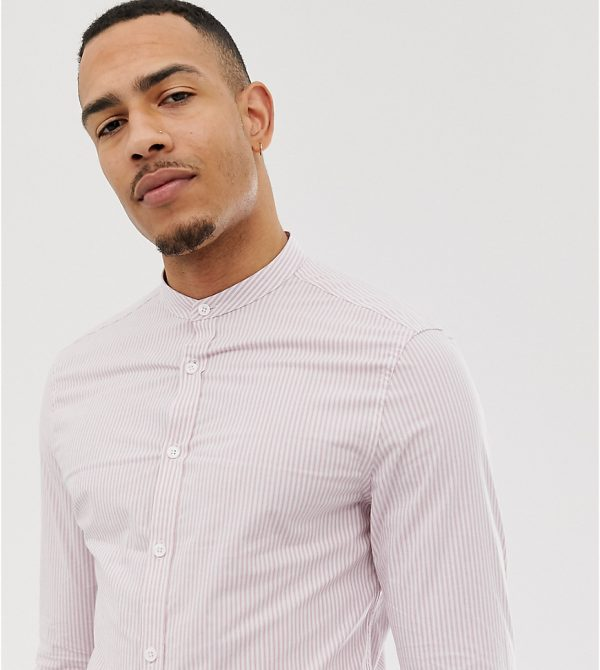 ASOS DESIGN Tall skinny smart stripe shirt in pink