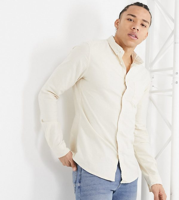 ASOS DESIGN Tall slim fit yarn dyed organic Oxford shirt in beige