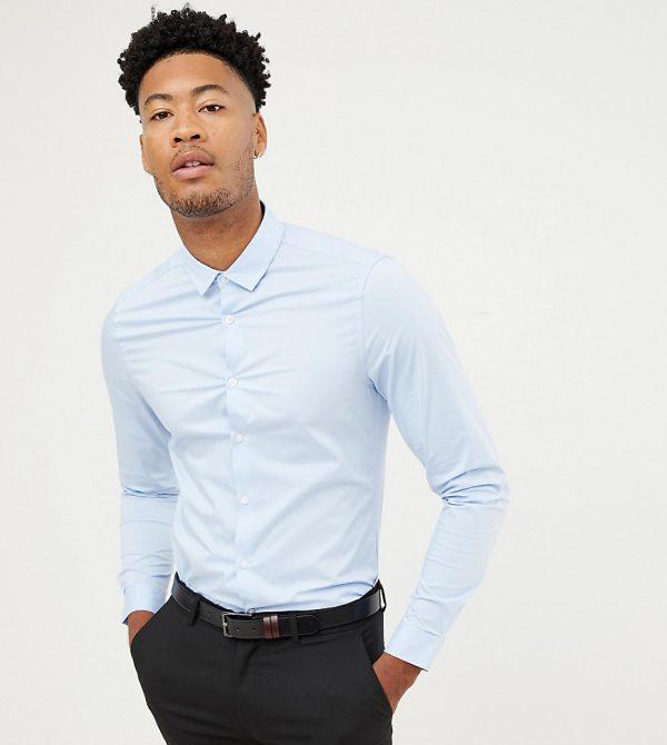 ASOS DESIGN Tall smart stretch slim fit work shirt in blue-Blues
