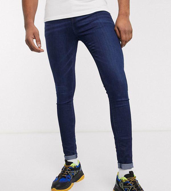 ASOS DESIGN Tall spray on jeans in power stretch denim in dark wash blue-Blues