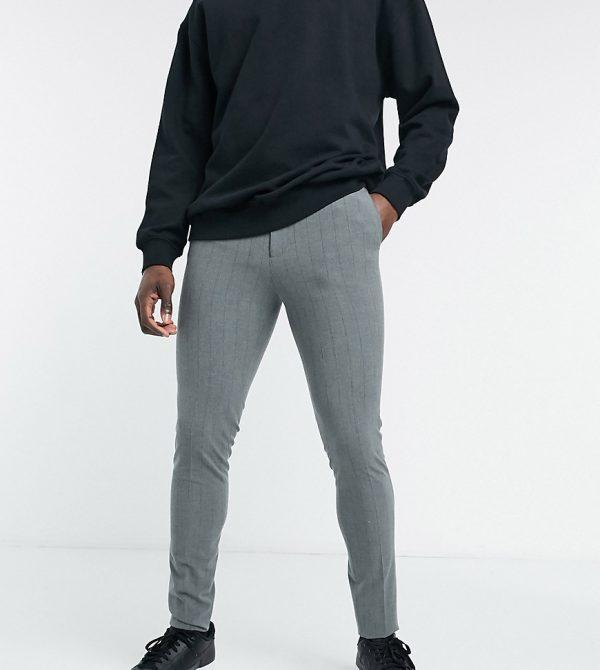 ASOS DESIGN Tall super skinny stripe smart pants-Grey