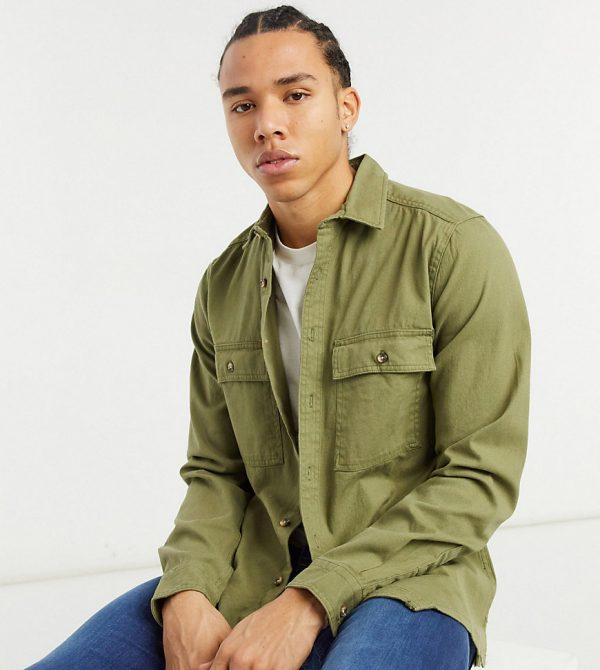 ASOS DESIGN Tall twill shacket in khaki-Green