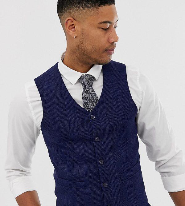ASOS DESIGN Tall wedding skinny suit vest in blue wool blend herringbone