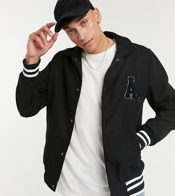 ASOS DESIGN Tall wool mix varsity bomber jacket with badges in black