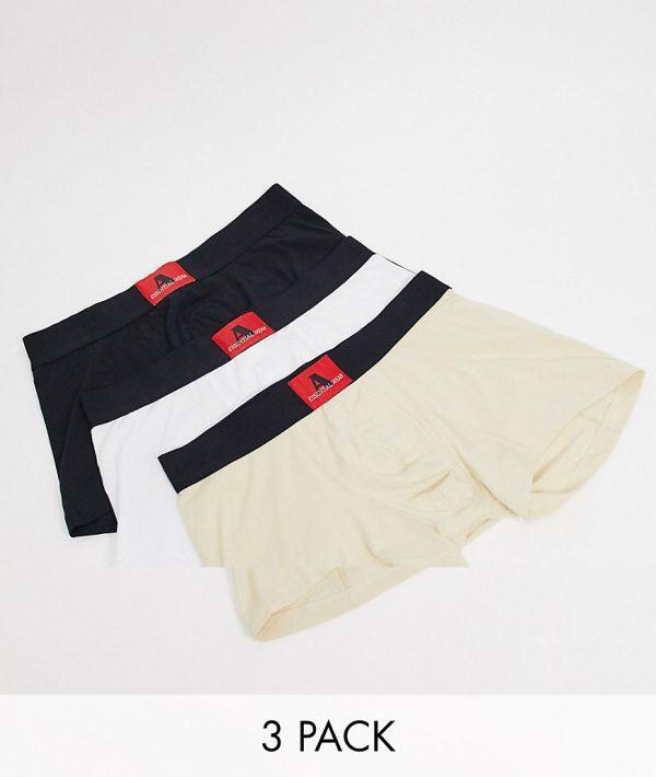 ASOS DESIGN Two Mile 3 pack trunks in tonal shades-Multi