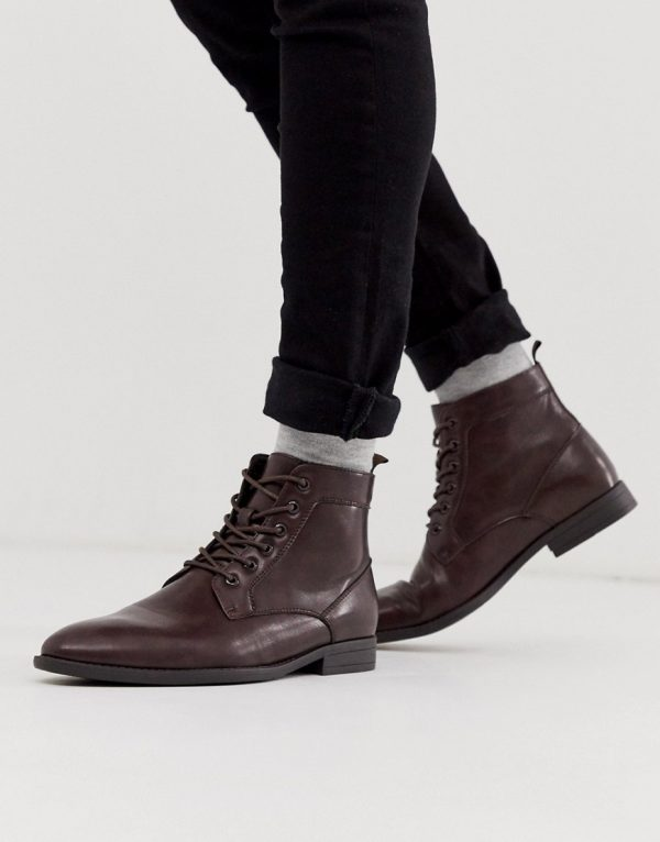 ASOS DESIGN Vegan lace up boots in brown faux leather
