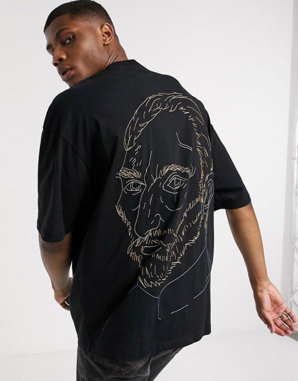 ASOS DESIGN Vincent Van Gogh oversized longline t-shirt with back embroidery face detail-Black