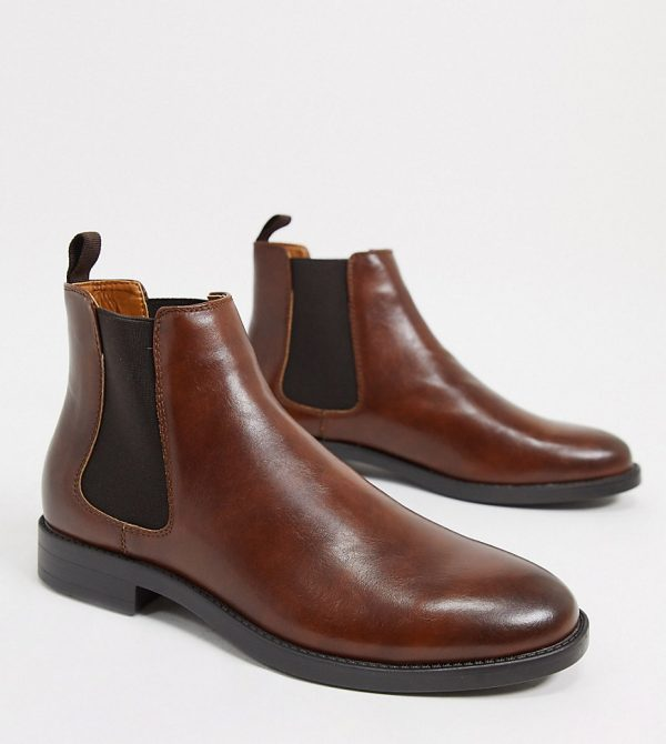 ASOS DESIGN Wide Fit chelsea boots in brown