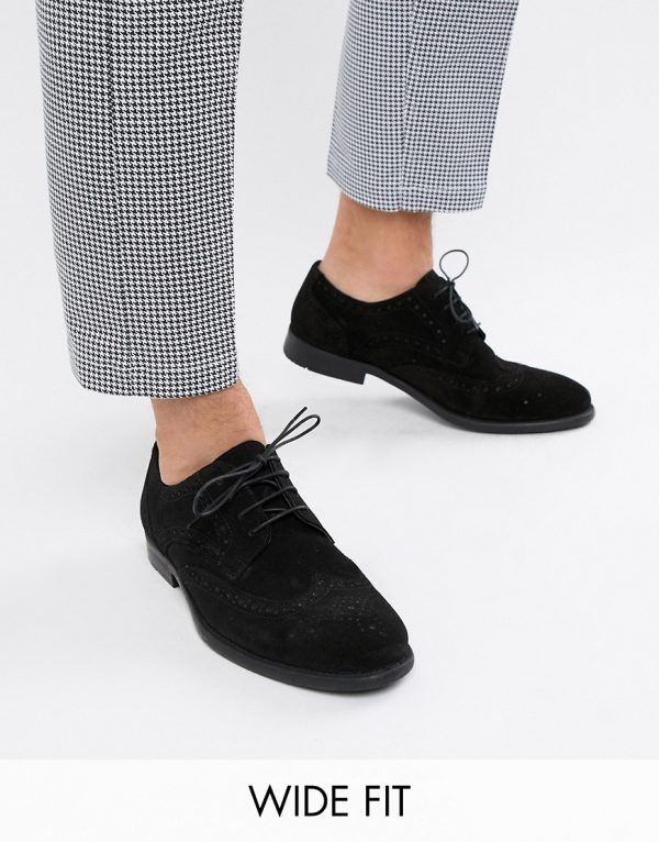 ASOS DESIGN Wide Fit derby brogue shoes in black suede