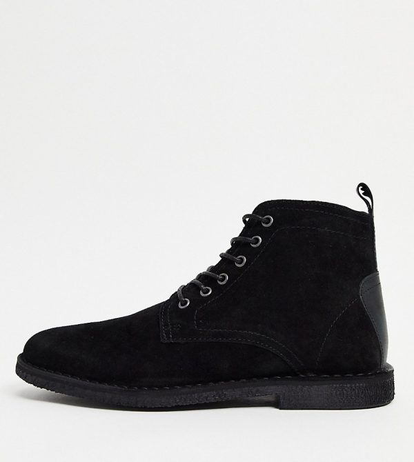 ASOS DESIGN Wide Fit desert chukka boots in black suede with leather detail