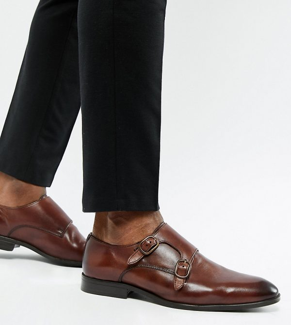 ASOS DESIGN Wide Fit monk shoes in brown leather