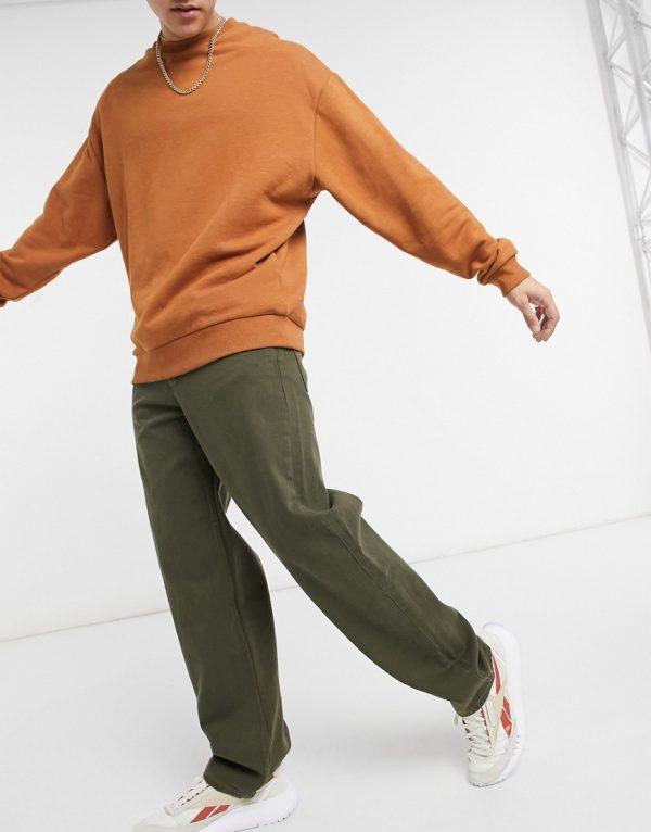 ASOS DESIGN baggy jeans in khaki-Green