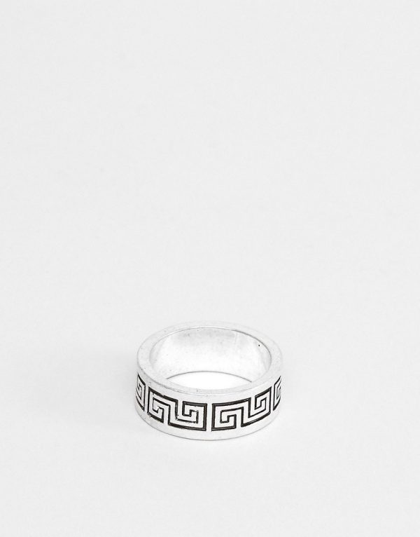 ASOS DESIGN band ring with column emboss in burnished silver tone