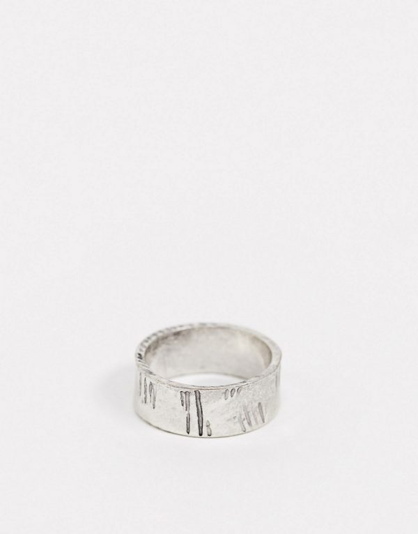 ASOS DESIGN band ring with scratch markings in burnished silver tone