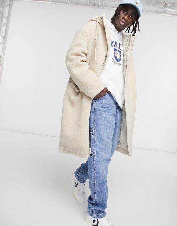 ASOS DESIGN borg oversized jacket in stone-Neutral