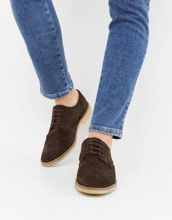 ASOS DESIGN brogue shoes in brown suede with natural sole