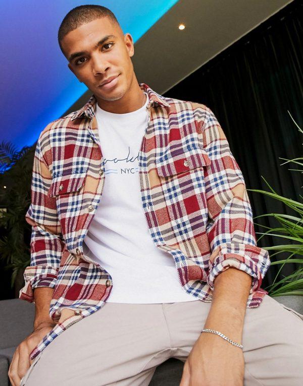 ASOS DESIGN brushed flannel overshirt in brown tartan plaid-Neutral