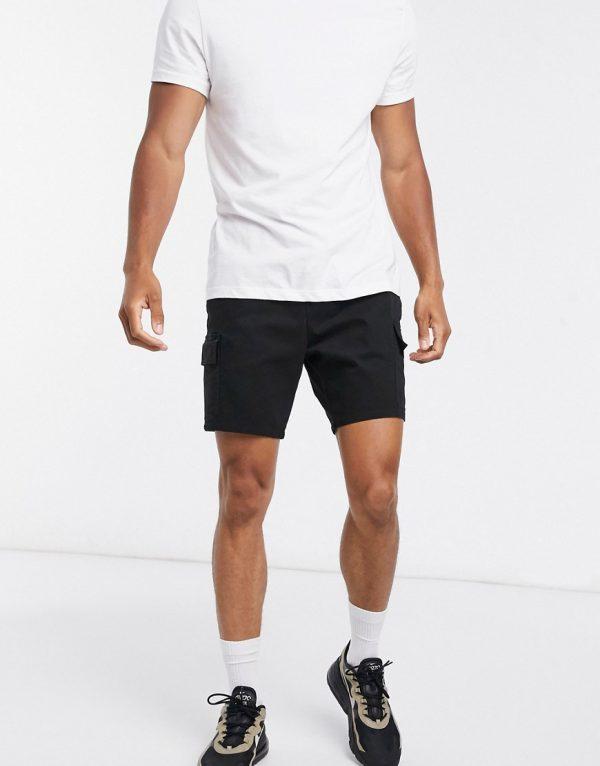 ASOS DESIGN cargo shorts in black