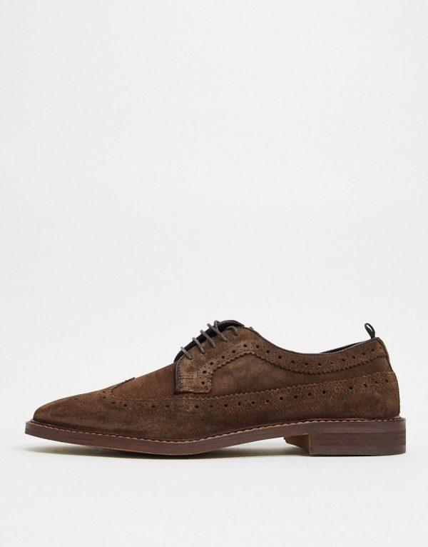 ASOS DESIGN casual lace up brogue shoes in brown suede with contrast sole