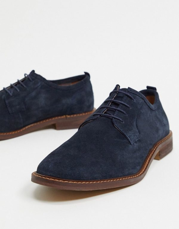 ASOS DESIGN casual lace up shoes in navy suede with contrast sole