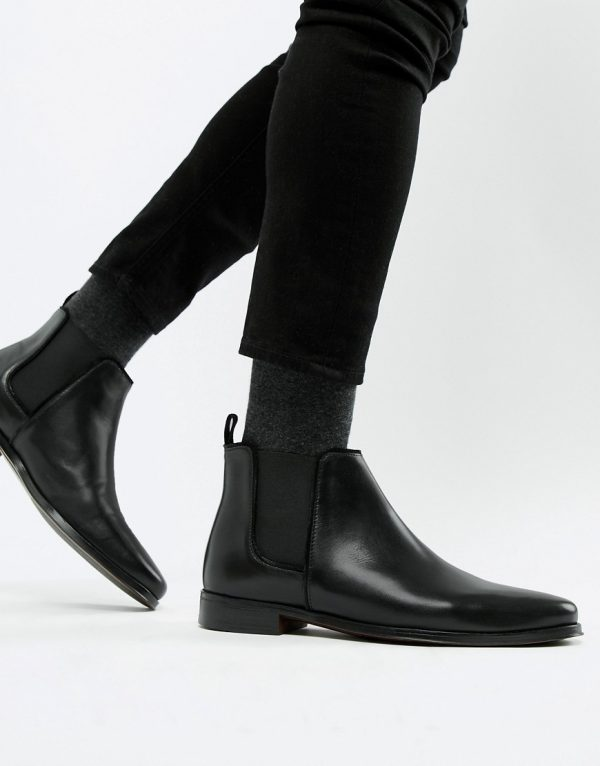 ASOS DESIGN chelsea boots in black leather with black sole