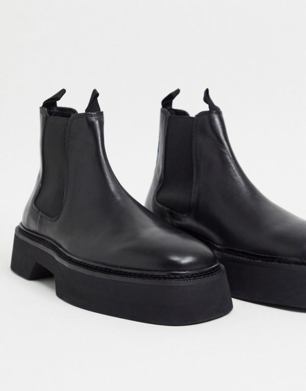 ASOS DESIGN chelsea square toe boots in black high shine leather