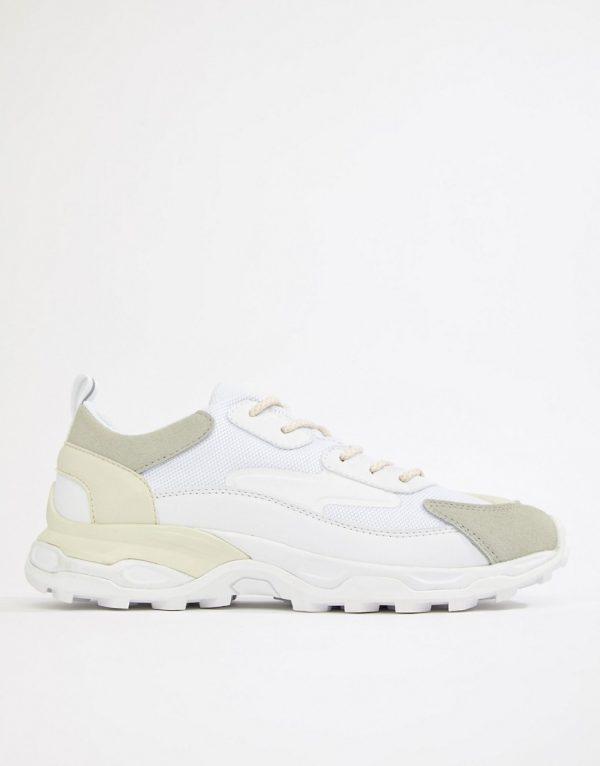 ASOS DESIGN chunky sole multi paneled sneakers-White