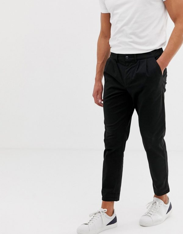 ASOS DESIGN cigarette chinos with pleats in black