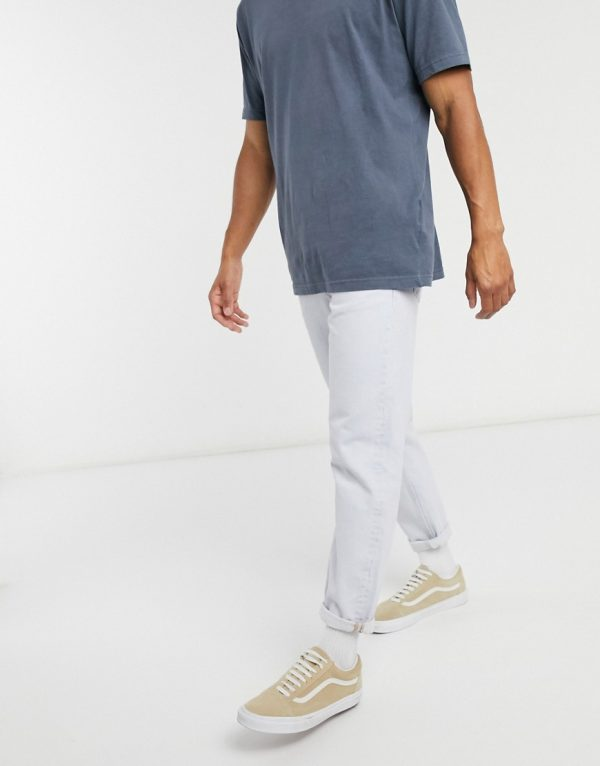 ASOS DESIGN cropped straight jeans in light blue-Blues