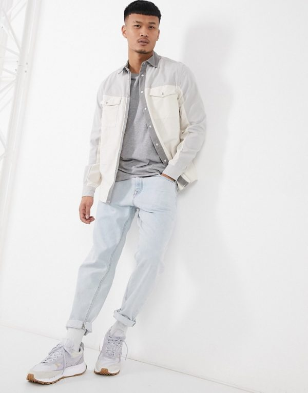 ASOS DESIGN cut and sew twill overshirt in gray-Grey