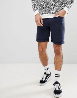 ASOS DESIGN denim shorts in slim navy