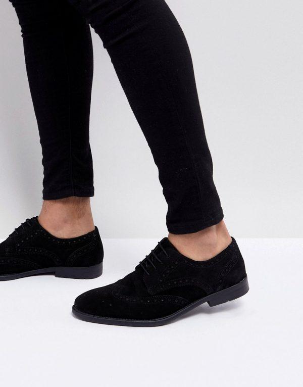 ASOS DESIGN derby brogue shoes in black suede