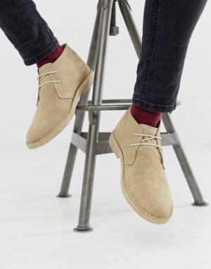 ASOS DESIGN desert chukka boots in stone suede-Neutral