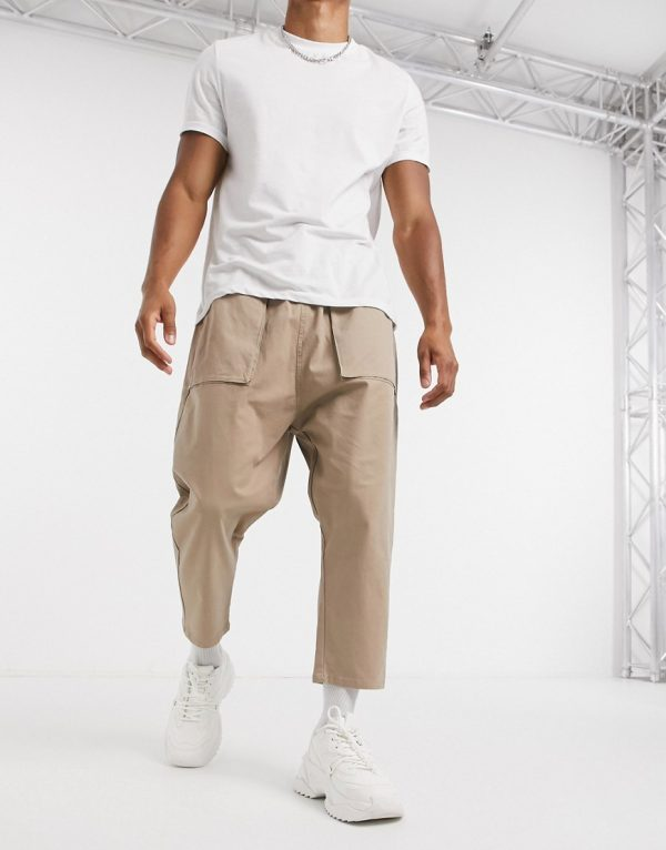 ASOS DESIGN drop crotch pants in stone