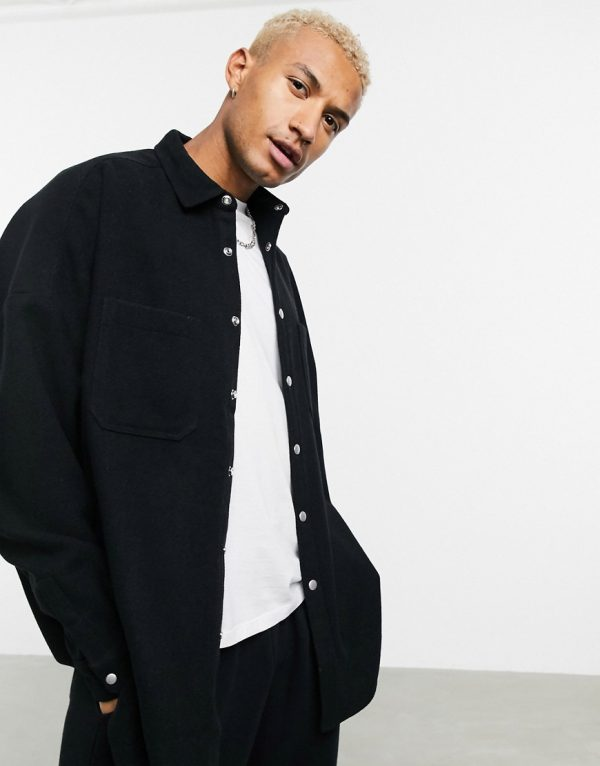 ASOS DESIGN extreme oversized wool mix shirt in black