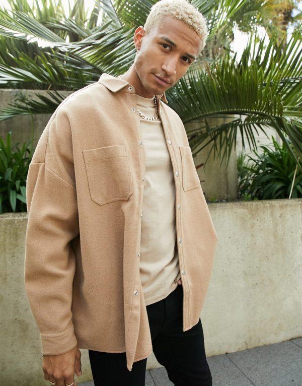 ASOS DESIGN extreme oversized wool mix shirt in camel-Brown