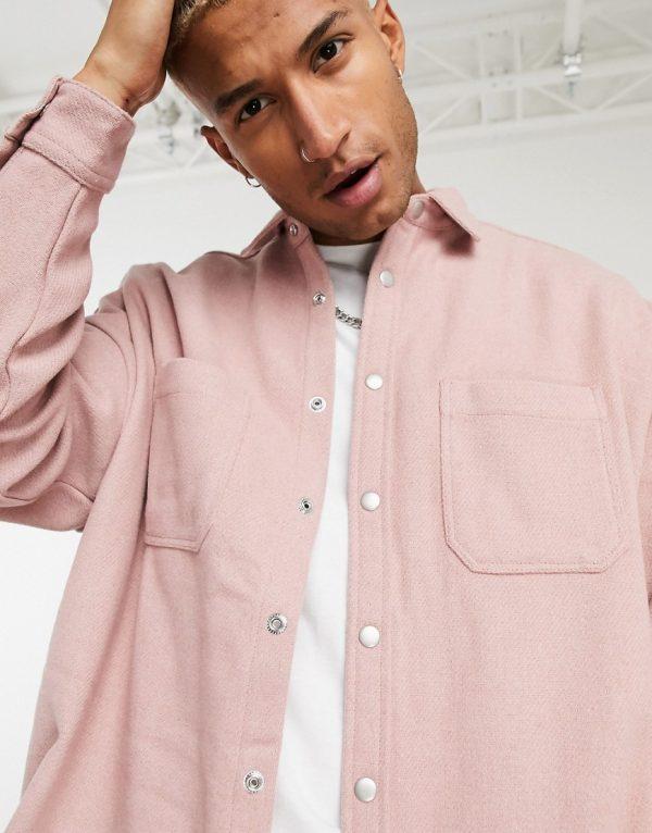 ASOS DESIGN extreme oversized wool mix shirt in dusky pink