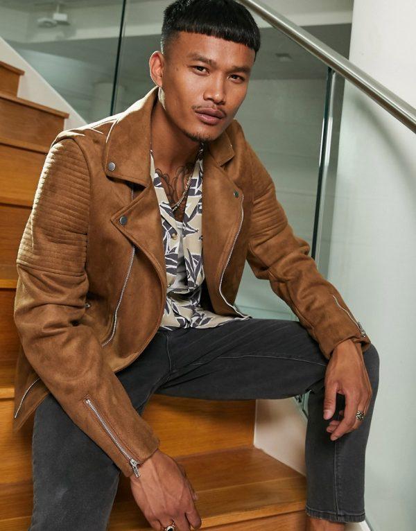 ASOS DESIGN faux suede biker jacket in tan-Brown