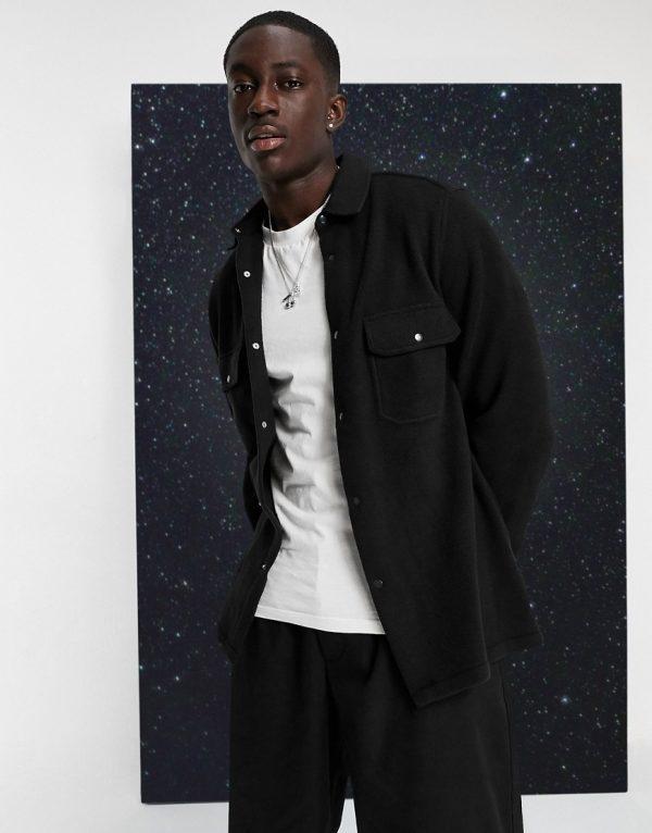ASOS DESIGN fleece overshirt in black