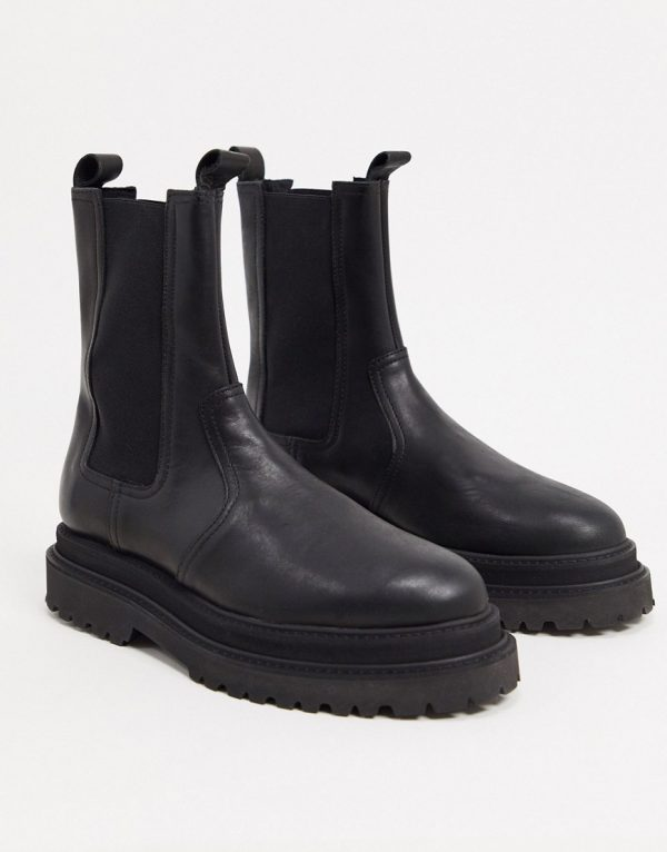 ASOS DESIGN high chelsea calf boots on stacked sole in black high shine leather