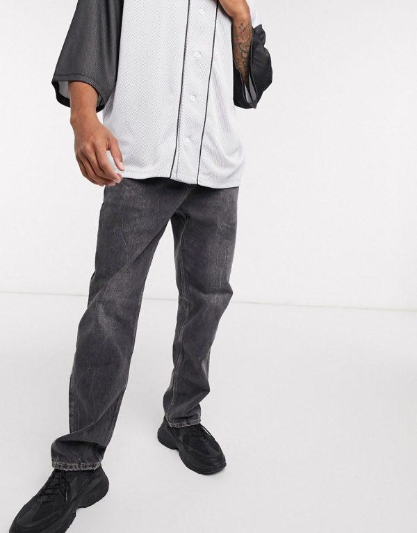 ASOS DESIGN high rise regular jean in washed black