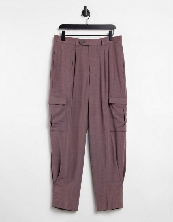 ASOS DESIGN high waist wide leg smart pant in purple cross hatch