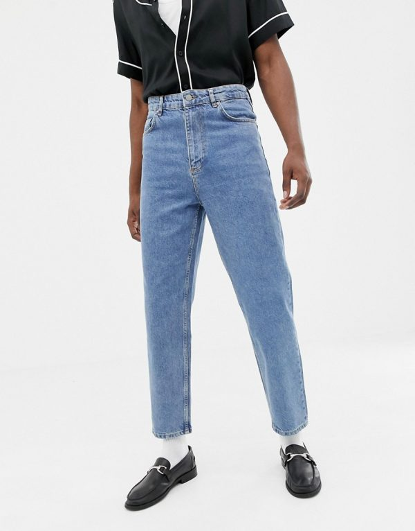 ASOS DESIGN high waisted jeans in vintage mid wash blue-Blues