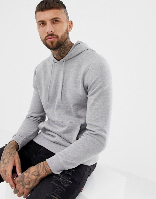 ASOS DESIGN hoodie in gray marl-Grey